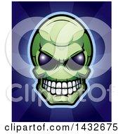 Poster, Art Print Of Halftone Green Alien Skull Over Blue Rays