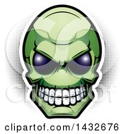 Clipart Of A Halftone Green Alien Skull Head Royalty Free Vector Illustration by Cory Thoman