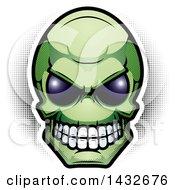 Poster, Art Print Of Halftone Green Alien Skull Head