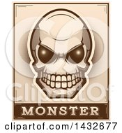 Poster, Art Print Of Halftone Alien Skull Monster Design