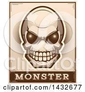 Poster, Art Print Of Halftone Alien Skull Monster Design