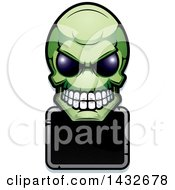 Clipart Of A Halftone Green Alien Skull Over A Black Sign Royalty Free Vector Illustration