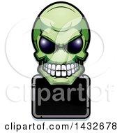 Poster, Art Print Of Halftone Green Alien Skull Over A Black Sign