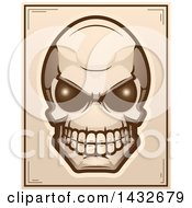 Clipart Of A Halftone Alien Skull Poster Design Royalty Free Vector Illustration