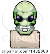 Clipart Of A Halftone Green Alien Skull Over A Blank Sign Royalty Free Vector Illustration