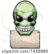 Poster, Art Print Of Halftone Green Alien Skull Over A Blank Sign