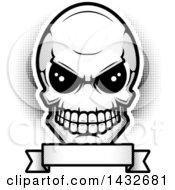 Poster, Art Print Of Black And White Alien Skull Over A Blank Banner