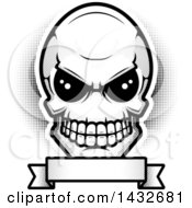 Clipart Of A Black And White Alien Skull Over A Blank Banner Royalty Free Vector Illustration