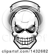 Clipart Of A Black And White Alien Skull Under A Blank Banner With Halftone Dots Royalty Free Vector Illustration