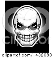 Clipart Of A Black And White Alien Skull Royalty Free Vector Illustration