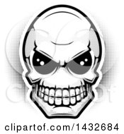 Clipart Of A Black And White Halftone Alien Skull Royalty Free Vector Illustration by Cory Thoman