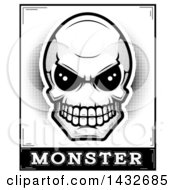 Clipart Of A Black And White Halftone Alien Skull Monster Design Royalty Free Vector Illustration