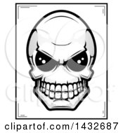 Clipart Of A Black And White Halftone Alien Skull Poster Design Royalty Free Vector Illustration