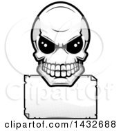 Clipart Of A Black And White Halftone Alien Skull Over A Blank Sign Royalty Free Vector Illustration