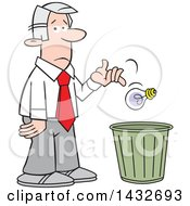 Clipart Of A Cartoon Disappointed Silver Haired Caucasian Business Man Tossing A Bad Idea Into A Trash Bin Royalty Free Vector Illustration