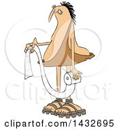 Clipart Of A Cartoon Chubby Caveman Holding A Roll Of Toilet Paper Royalty Free Vector Illustration