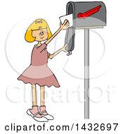 Clipart Of A Cartoon Happy White Girl Getting Letters From A Mailbox Royalty Free Vector Illustration