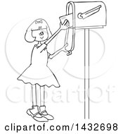 Clipart Of A Cartoon Black And White Lineart Happy Girl Getting Letters From A Mailbox Royalty Free Vector Illustration