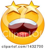 Clipart Of A Cartoon Yellow Emoji Smiley Face Emoticon With Starry Eyes Royalty Free Vector Illustration