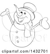 Clipart Of A Cartoon Black And White Lineart Cheerful Christmas Snowman Royalty Free Vector Illustration