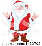 Clipart Of A Confused Christmas Santa Claus Shrugging Royalty Free Vector Illustration
