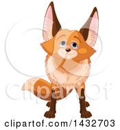 Clipart Of A Cute Adorable Fox Looking Upwards Royalty Free Vector Illustration by Pushkin
