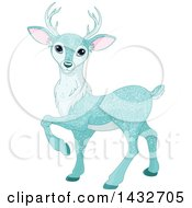 Clipart Of A Beautiful Ice Blue Sparkly Christmas Deer Royalty Free Vector Illustration by Pushkin