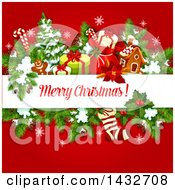 Clipart Of A Merry Christmas Greeting With Branches And Xmas Items Royalty Free Vector Illustration
