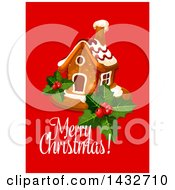 Clipart Of A Merry Christmas Greeting With A Gingerbread House Royalty Free Vector Illustration