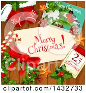 Clipart Of A Merry Christmas Greeting On Wood With A Card Calendar Wreath Mittens And Candy Canes Royalty Free Vector Illustration