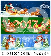 Clipart Of Christmas Website Banner Headers Royalty Free Vector Illustration