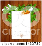 Clipart Of A Blank Christmas Letter Page Over Wood With Branches And Bells Royalty Free Vector Illustration by Vector Tradition SM