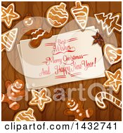 Clipart Of A Merry Christmas And Happy New Year Greeting With Gingerbread Cookies On Wood Royalty Free Vector Illustration by Vector Tradition SM