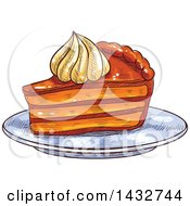 Clipart Of A Sketched Slice Of Pie Or Cake With Cream On Top Royalty Free Vector Illustration