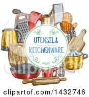 Poster, Art Print Of Text Circle Frame Over Sketched Kitchen Items