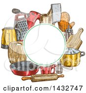 Clipart Of A Blank Circle Frame Over Sketched Kitchen Items Royalty Free Vector Illustration