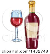 Clipart Of A Sketched Bottle And Glass Of Red Wine Royalty Free Vector Illustration by Vector Tradition SM