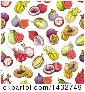Clipart Of A Seamless Background Pattern Of Sketched Tropical Fruits Royalty Free Vector Illustration