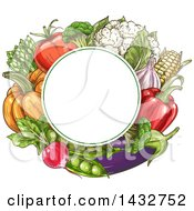 Clipart Of A Blank Circle Frame Over Sketched Vegetables Royalty Free Vector Illustration