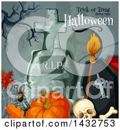 Clipart Of A Background With Trick Or Treat Horror Night Halloween Text Royalty Free Vector Illustration by Vector Tradition SM