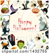 Happy Halloween Greeting In A Border
