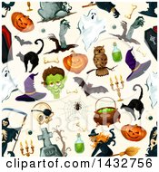 Clipart Of A Seamless Halloween Pattern Background Royalty Free Vector Illustration by Vector Tradition SM