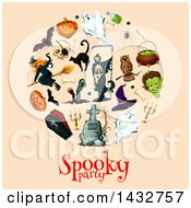 Clipart Of A Circle Of Halloween Items Over Text Royalty Free Vector Illustration by Vector Tradition SM