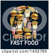 Clipart Of A Sketched Fast Food Items Over Text On A Dark Background Royalty Free Vector Illustration