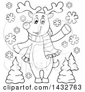 Clipart Of A Black And White Lineart Christmas Reindeer Wearing A Scarf And Waving Or Presenting Royalty Free Vector Illustration