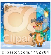 Happy Christmas Reindeer Wearing A Scarf And Waving By A Blank Scroll Sign