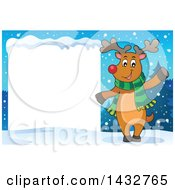 Happy Christmas Reindeer Wearing A Scarf And Waving By A Blank Sign