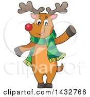 Clipart Of A Happy Christmas Reindeer Wearing A Scarf And Waving Or Presenting Royalty Free Vector Illustration