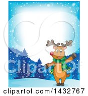 Border Of A Christmas Reindeer Wearing A Scarf And Waving Or Presenting