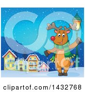 Clipart Of A Happy Christmas Reindeer Wearing A Scarf And Waving Or Presenting By A Village Royalty Free Vector Illustration